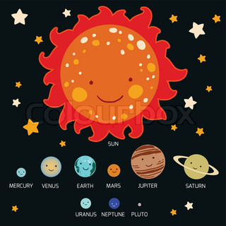 Kid's style drawing solar system vector illustration ...