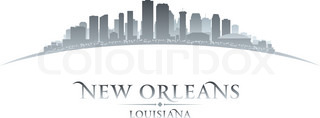 New Orleans Louisiana city skyline silhouette white background