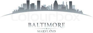 Baltimore Maryland city skyline silhouette white background