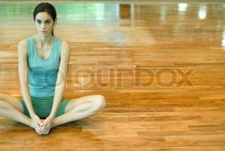 Image of 'brunette, yoga, indoors'