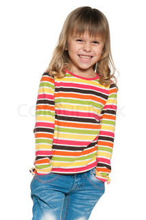 Laughing llittle girl in striped shirt
