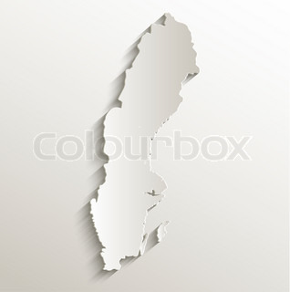 Sweden map card paper 3D natural raster