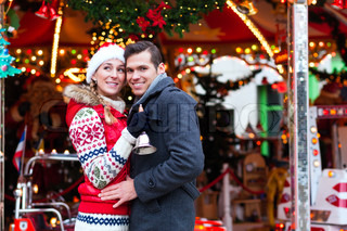 Couple on traditional Christmas market