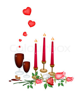 Valentine Candles with Lovely Rose and Wine