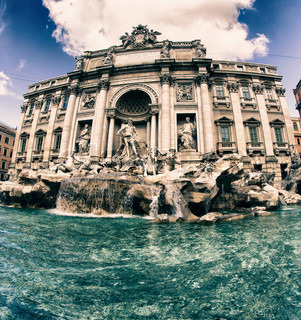 Colors of Trevi Fountain in March, Rome