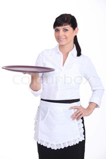 Waitress with an empty tray