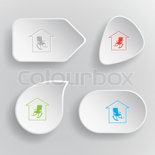 Home comfort. White flat vector buttons on gray background.