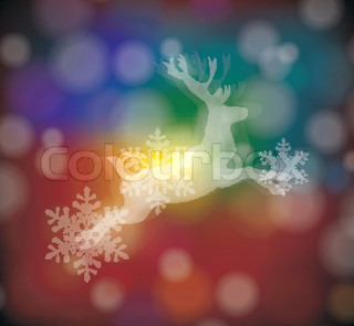christmas card with stylized  white deer with  snowflakes