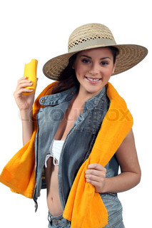 Young woman with sun protection