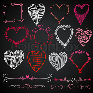 Valentine's day in chalkboard style, red, white and pink beautiful drawn hearts, love symbols, set of heart icons, grunge vector layouts for creative festive design