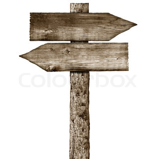 Old blank wood road sign with grass | Stock Photo | Colourbox