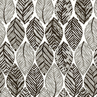 Monochrome seamless pattern of abstract leaves.