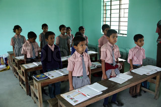 Kids learn at school in Kumrokhali, West Bengal, India