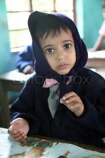 Portrait of schoolboy at school on January 16, 2009, Kumrokhali, West Bengal, India