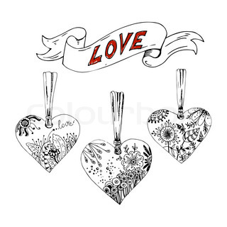 Sketch hearts with floral motif