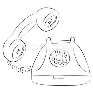 coloring pages old schoolhouse | Cartoon vector outline illustration telephone ringing old ...