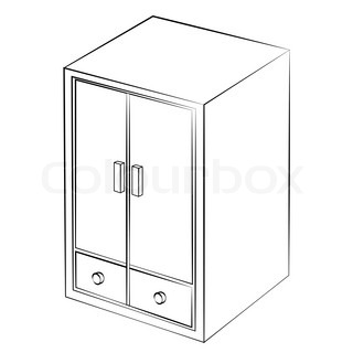 Wardrobe clipart black and white  Vector image of isolated wardrobe with cartoon style - color ...