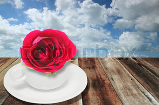 Red rose and white coffee cup on wood board with sky background