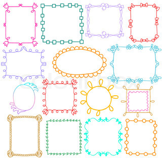 Vintage photo frames set, scrapbook design elements, drawing doodle style, retro ornamental and cute photo frames templates, summer and spring mood, layouts for decoration and design