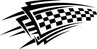 Tribal Racing Tattoo With Checkered Flag Vector Colourbox