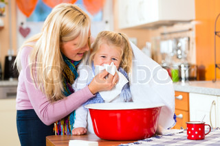 Mother care for sick child with vapor-bath