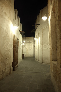 Souq Waqif at night. Doha, Qatar, Middle East
