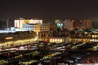 Parking lot at the Souq Waqif at night. Doha, Qatar, Middle East