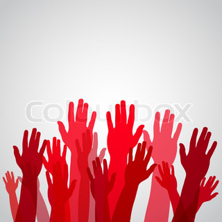 Red colorful up hands, vector illustration