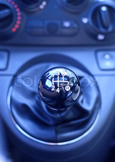 Five speed gear stick. Close-up.