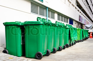 large green trash cans
