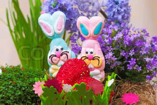 Pair of easter candy bunnies with heart