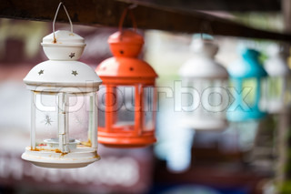 Colorful lamps hanging