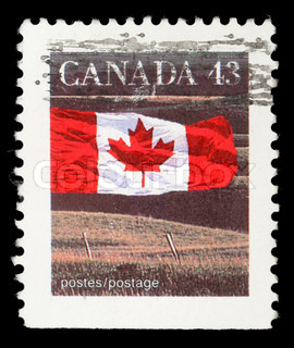Stamp printed in Canada shows Canadian flag