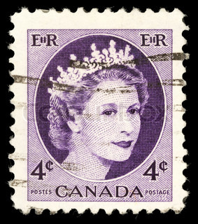CANADA - CIRCA 1954: A stamp printed in Canada shows Queen Elizabeth II, circa 1954