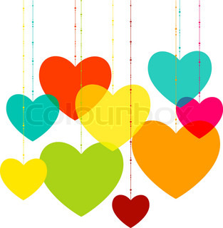 Various multicolored hearts. Magenta, Cyan, yellow and green transparency elements.