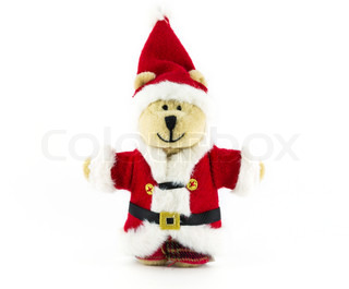 teddy bear with red suit of Santa hat isolated on white background