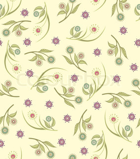 Seamless floral pattern with stylized dandelions