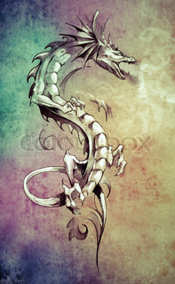Sketch of tattoo art, big medieval dragon, fantasy concept over colorful paper