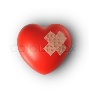 Red heart with plaster, Isolated on white background