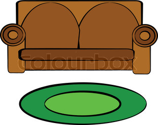 Happy And Joyful Cartoon Of Maroon Upholstered Couch Of Stock Vector