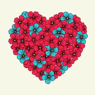 heart with flowers painted in graphic style retro pink and blue colors