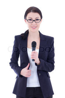 young beautiful female journalist with microphone isolated on white