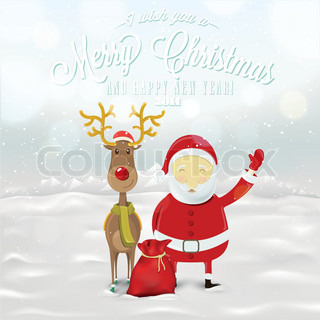 Funny Greeting Card, Christmas Card With Santa Claus, Deer, Snowman And Bear