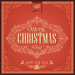 Vintage Christmas Typography Background