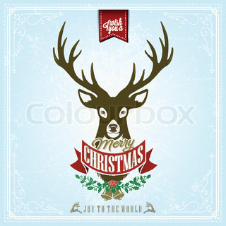 I Wish You A Merry Christmas Vintage Christmas Background With Deer