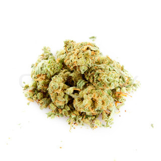 Medical marijuana isolated on white background.
