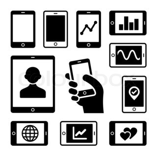 Mobile gadgets with business diagrams icons set