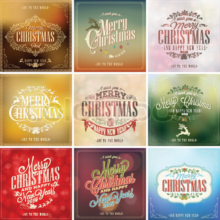 Set Of Vintage Christmas Light Vector Background With Typography, Card Or Invitation