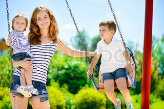 Happy family on playground
