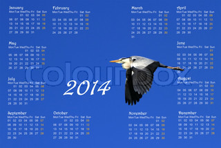 English 2014 calendar with heron in flight